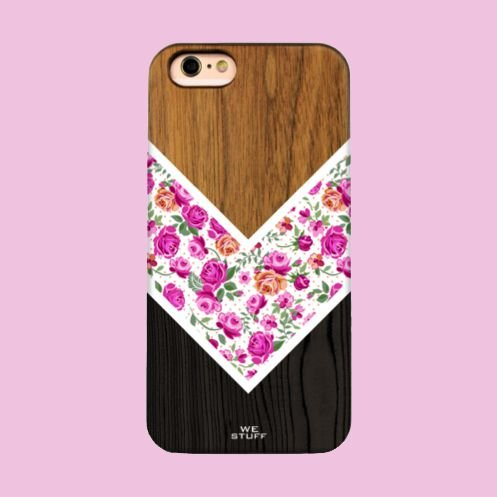 "Capa para Celular ""Case"" Flores e listras Bambu"