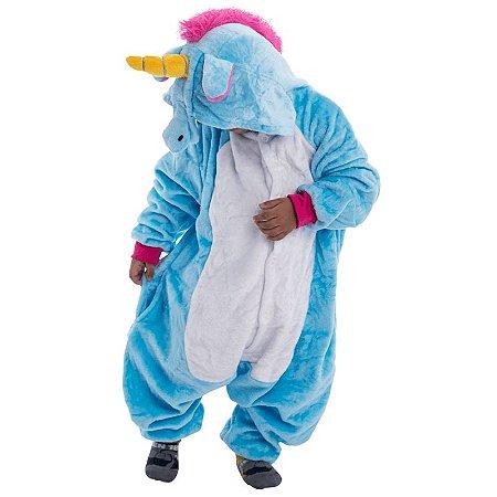 Pijama de Unicórnio Infantil - Azul