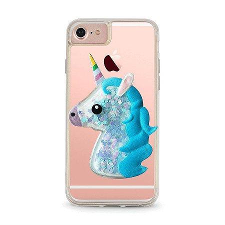 """Capa Para Celular """"Case"""" Unicórnio Azul Glitter"""
