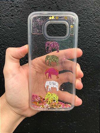 """Capa para Celular """"Case"""" Elefantes Glitter Samsung"""