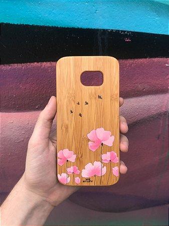 """Capa para Celular """"Case"""" Flores e Andorinhas Bambu Samsung"""