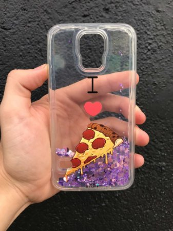 "Capa para Celular ""Case"" I Love Pizza Glitter Samsung"