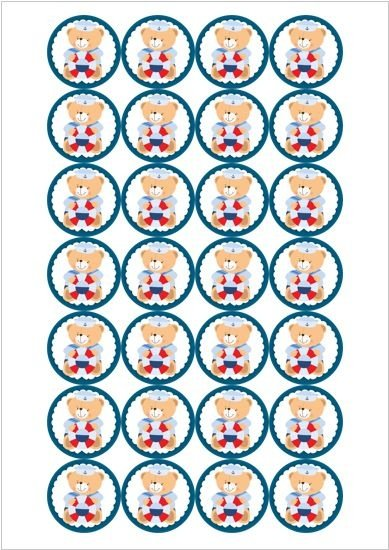 URSINHO MARINHEIRO 002 MEDALHAO 4 CM - 28 UNIDADES