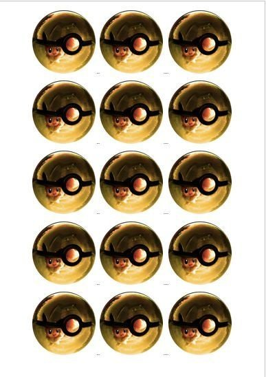 POKEBOLA 003 MEDALHAO 5 CM(CORTADO) 15 UNIDADES