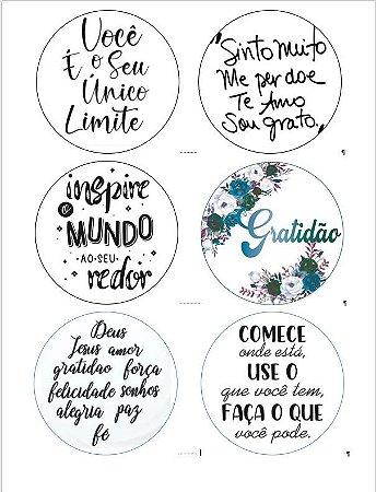 BENTO CAKE FRASES MOTIVACIONAIS 6 UNIDADES (PAPEL ARROZ)