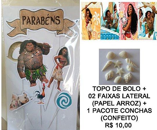 KIT MOANA 001 (TOPO DE BOLO + FAIXA LATERAL + CONFEITO)