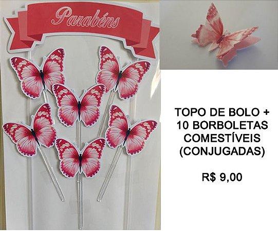 KIT BORBOLETAS (TOPO DE BOLO + 10 BORBOLETAS CONJUGADAS)