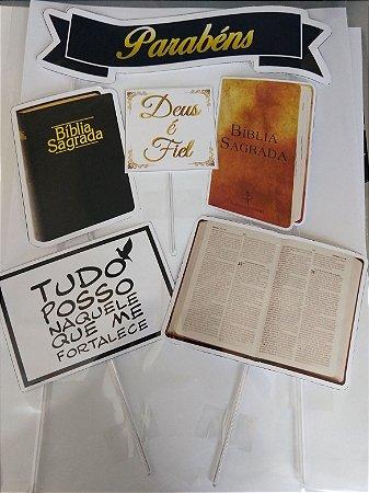 BIBLIA SAGRADA TOPO DE BOLO + 24 TAGS PARA DOCES