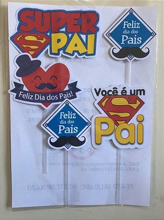DIA DOS PAIS 05 PEÇAS TOPO DE BOLO (PAPEL FOTOGRÁFICO)