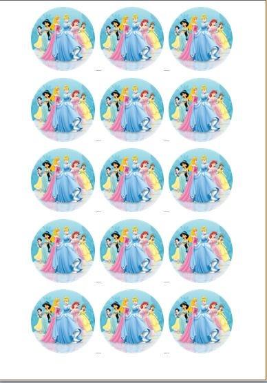 PRINCESAS 004 MEDALHÃO 5 CM (CORTADO) 15 UNIDADES