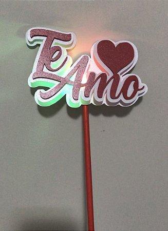 TE AMO TOPO DE BOLO 3D COM LED