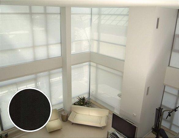 Cortina Rolô Tela Solar Texturizado cor Preto
