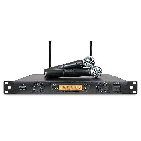 Microfone sem fio duplo Arcano ARC-100 cápsula beta UHF