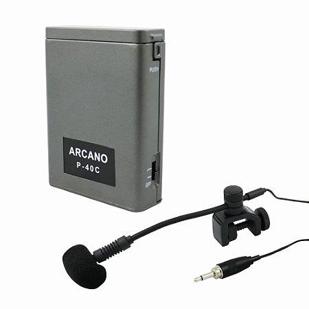 Microfone condensador Arcano FD-1001B c/ alimentador de corpo
