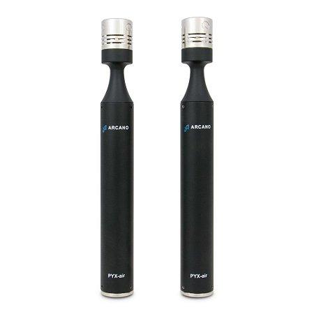 Microfones condensadores Arcano PYX-air c/ suporte e cápsulas adicionais