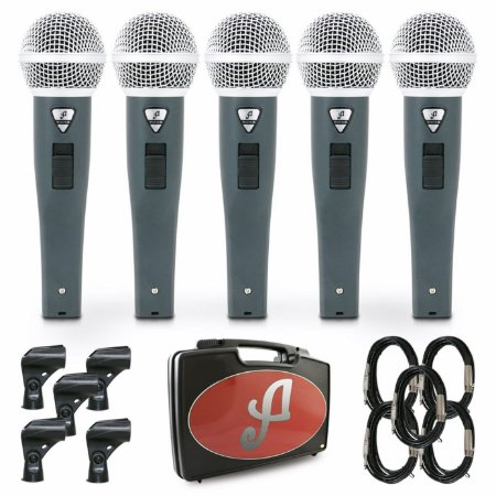 Kit com 5 microfones dinâmicos Arcano Rhodon-8BKIT com fio
