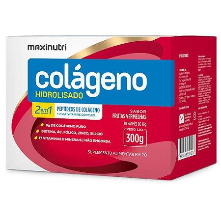 Colágeno Hidrolisado 2em1 Sachê Frutas Vermelhas 30x10g - Maxinutri
