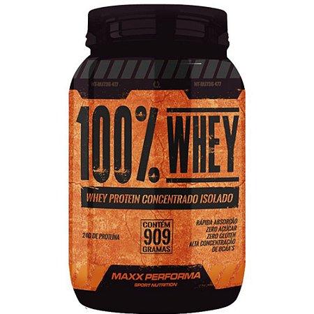 Whey Protein-concent/isolado 909g Morango - Maxx Performa
