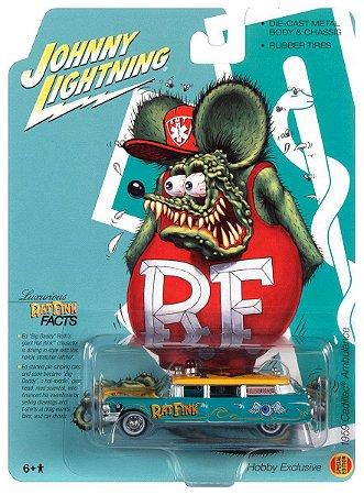 Pré venda - JOHNNY LIGHTNING 1959 CADILLAC HEARSE RAT FINK 1:64 SCALE DIECAST - AGOSTO 2021