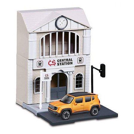 Cenário Estação de Trem c/ Jeep Renegade - Build Your City - 1:43 - Burago
