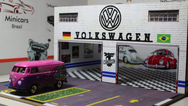 Diorama Oficina VW - 1/64 - MDF