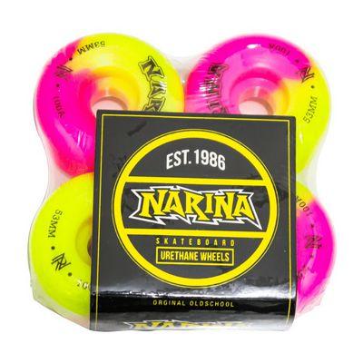 Rodas para Skate Narina Rajada Pink/Amarelo 53mm