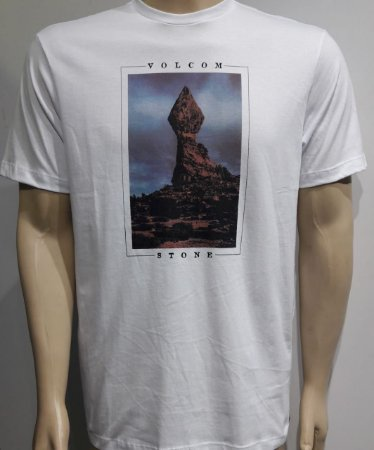 Camiseta Volcom Slim Stone Stack Branca