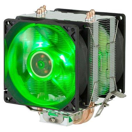 Cooler para Processador Dex AMD Intel TDP 130W Dx-9100 2 Fans Led Verde