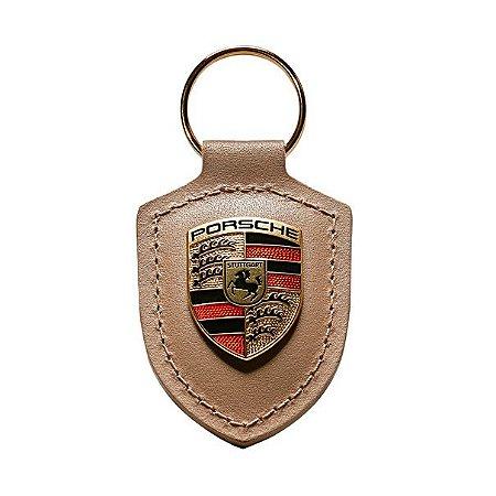 Chaveiro de Couro Porsche ( Bege)