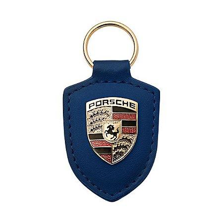 Chaveiro Couro , Escudo Porsche ( Blue )