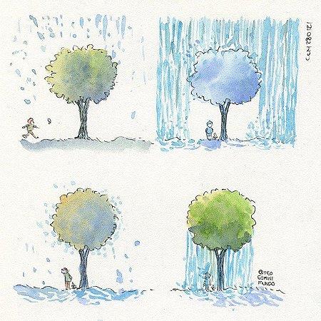 Árvore Chuvosa - Tirinha original desenhada e pintada a mão