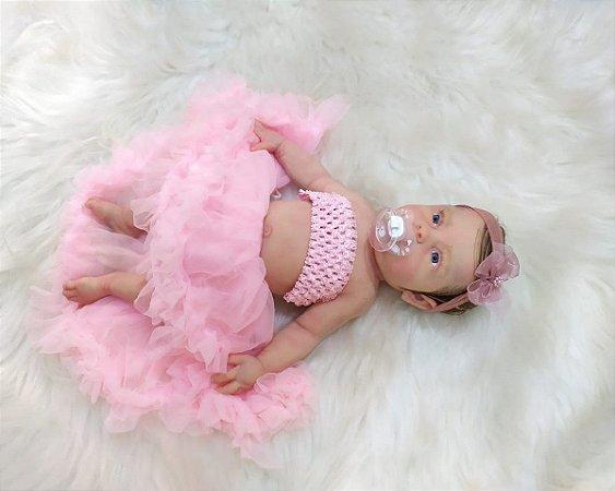 Bebê Reborn de Silicone Sólido Maria Com Sistema de Bexiga