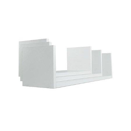 Kit 3 Prateleiras U Mdf Branco L=60cm/L=50cm/L=40cm x P15cm x A=150