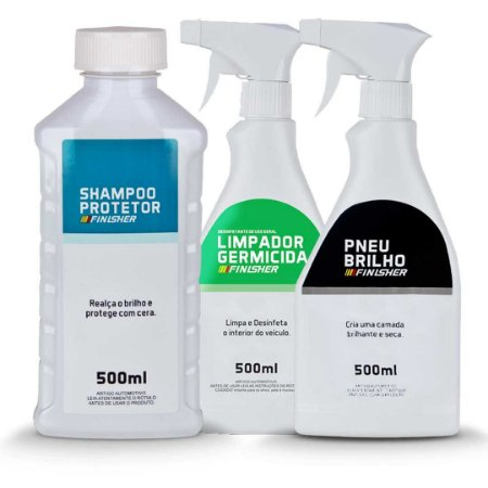 Kit Shampoo Protetor + Pneu Brilho + Germicida Finesher