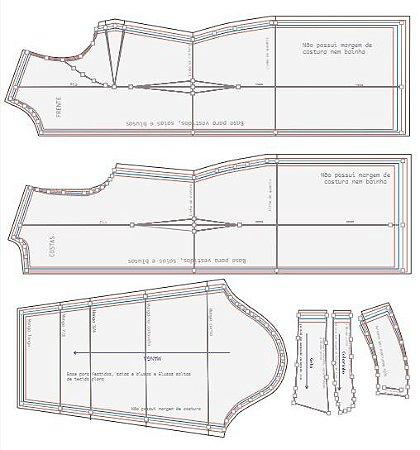 001 Kit Moldes Bases para Vestidos, saias e blusas do tamanho 36 ao 54
