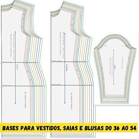 Kit Bases (MALHARIA) para Vestidos, saias e blusas do tamanho 36 ao 54