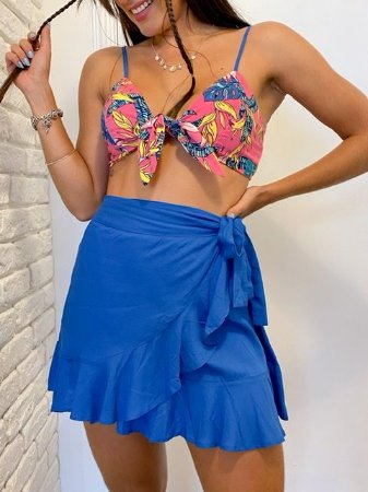Cropped Top Floral Rosa