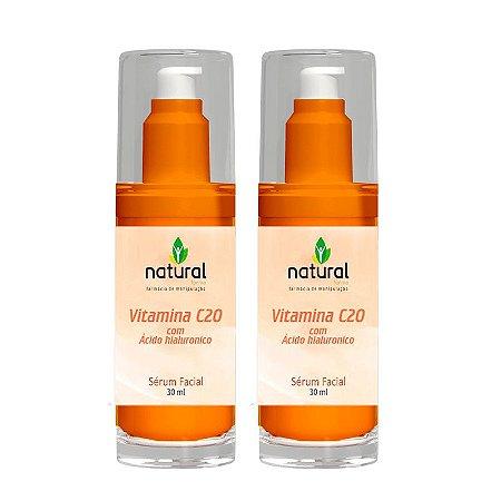 Kit Vitamina C20 com Ácido Hialurônico Sérum Facial 2 Unidades