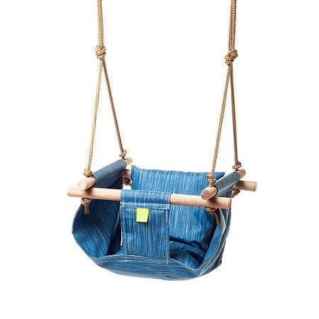 Balanço para Bebês Tecido Acquablock e Madeira Coiseteria - Blue Jeans