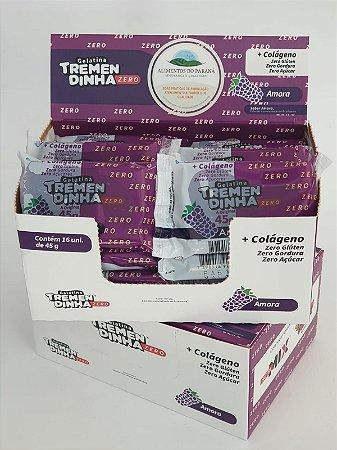Barras de gelatina Tremendinha zero açúcar sabor amora com  16 unidades
