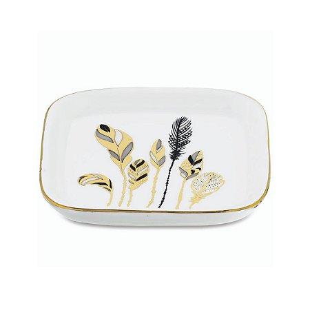 Mini prato cerâmica folhas