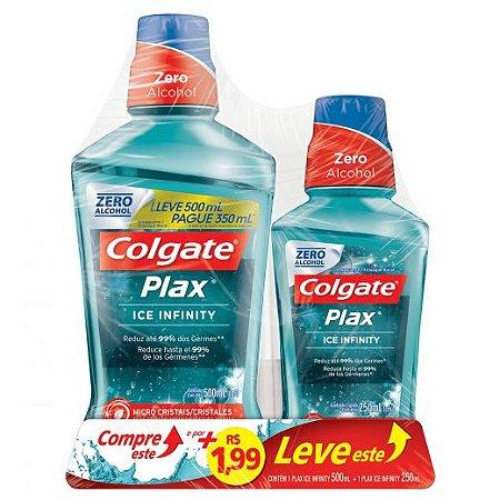 Kit Colgate Plax Ice Infinity Enxaguante bucal 500ml+250ml