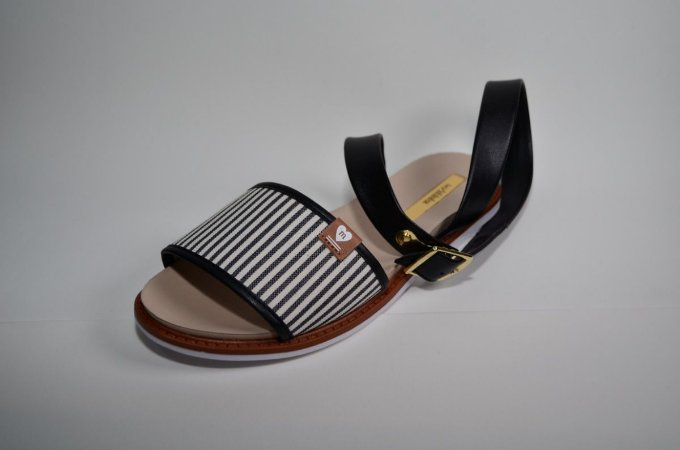 Sandália Molekinha Tecido Mini Náutico Preto 2312318