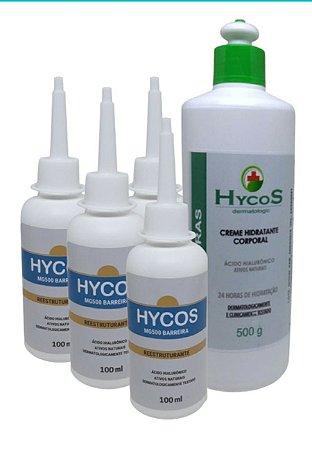 KIT4 Cremes Reestruturante Hycos 100ml + (Brinde) 1 Loção Hidratante Corporal 24h Hycos 500g