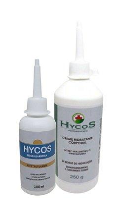 Creme Reestruturante Hycos 100ml Cicatrizante Feridas Pé Diabético e 1 Loção Hidratante Corporal 24h  250g