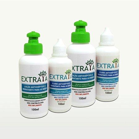 Kit 2 Loção e 2 Fluido Antisséptico e Hidratante para as Mãos 100ml