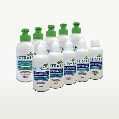 Kit 5 Loção e 5 Fluido Antisséptico e Hidratante para as Mãos 100ml