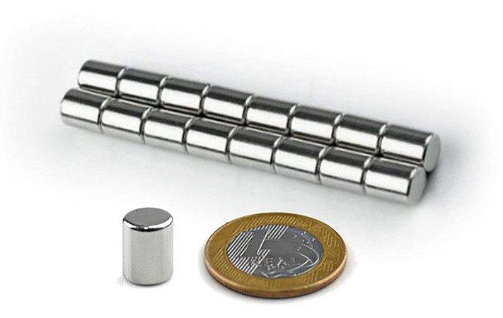 Ímã Neodímio N35 Cilindro 8x10 mm