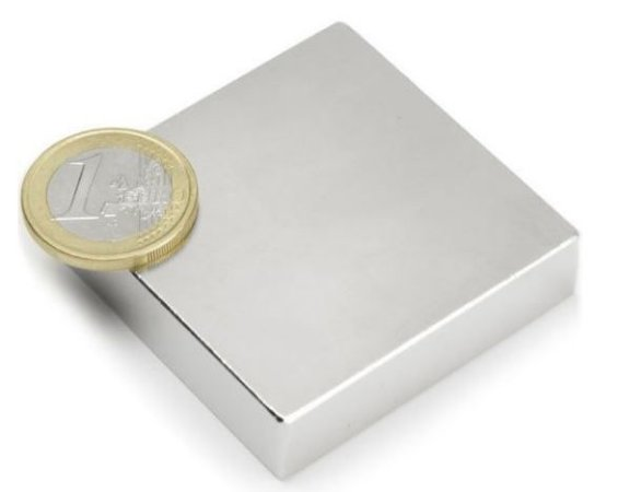 Ímã Neodímio N50 Bloco 50,8x50,8x12,7 mm