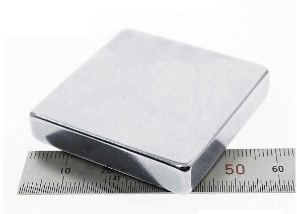 Ímã Neodímio N48 Bloco 50x50x10 mm